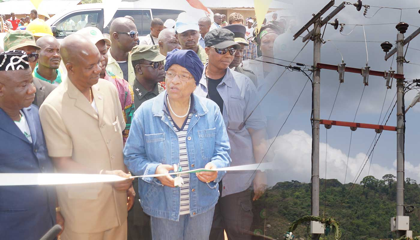 President Sirleaf cuts ribbon in Yandohun