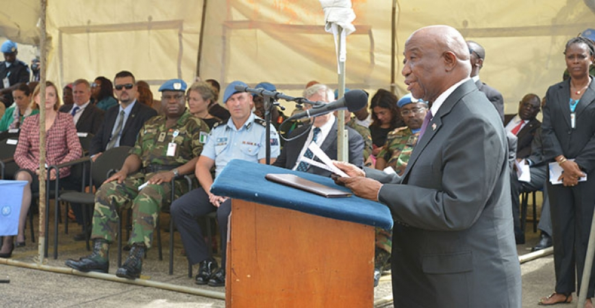 Vice  President Joseph N. Boakai delivering a statement on Int'l Day of UN Peacekeepers