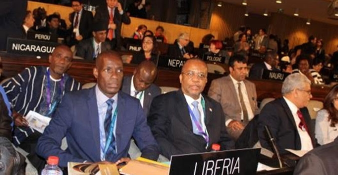 Minister Nagbe and Amb. Allen at the opening session of the 38th Session of the General Conference of UNESCO in Paris