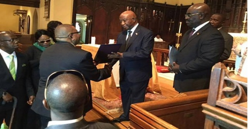 Vice President Joseph N. Boakai pays tribute on behalf of the Gov't of Liberia at the Funeral of the late Ruth Sando Perry In Columbus, Ohio