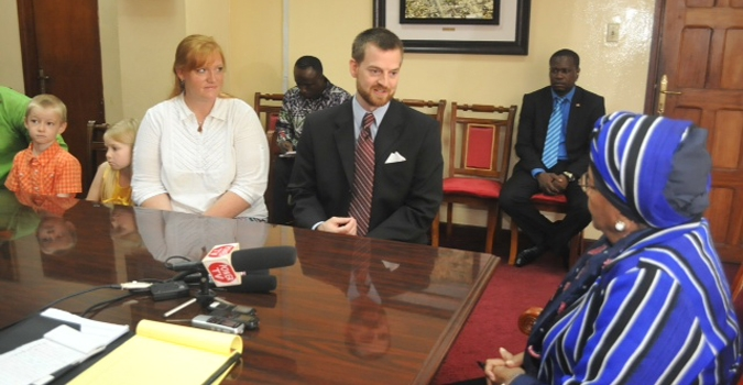 President Sirleaf Meets with Dr. Kent Brantly and Family; To Receive One of Liberia's Highest Distinctions during the 168th Independence Celebrations in Greenville