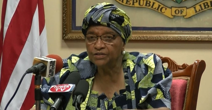 President Ellen Johnson Sirleaf delivers press statement on the Nocal Sustainability Action Plan