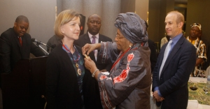 President Sirleaf Honors Outgoing SRSG Landgren; Admits Her into the Order of the Star of Africa with the Grade of Grand Commander