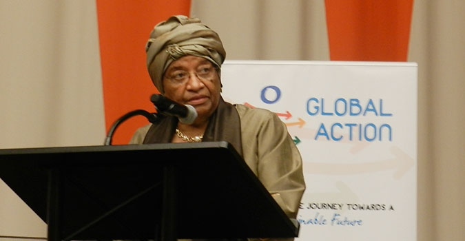 Pres. Ellen Johnson Sirleaf speaking at the UN HQ in New York